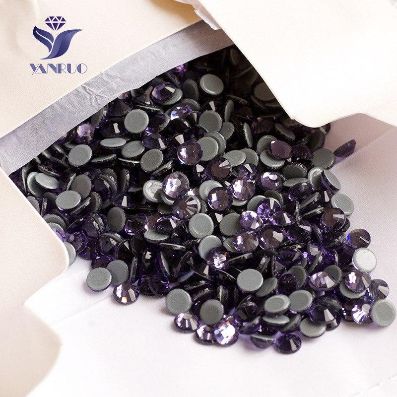 YANRUO 2058HF SS20 4.6-4.8mm Tanzanite Hotfix violet strass pas dos plat résine strass décoration vêtements