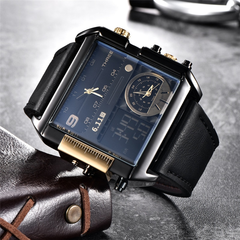 Relojes cuadrados para hombre 6,11, relojes para hombre de zona horaria múltiple, resistentes al agua, reloj Masculino de marca de lujo, reloj deportivo para hombre