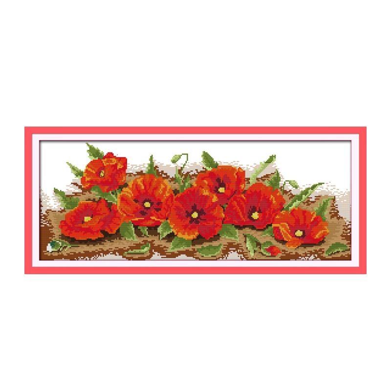 Flores de amapola de algodon dmc kits de punto de cruz de...