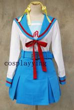 La malinconia di Haruhi Suzumiya Cosplay Costume Vestito Per Le Ragazze Su Misura Make