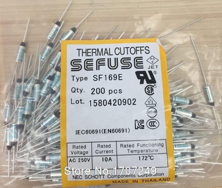 Envío gratis 10 unids/lote nueva SF169E SEFUSE shorts fusible térmico 172C 172 grados 10A 250V de Metal fusible SF169E