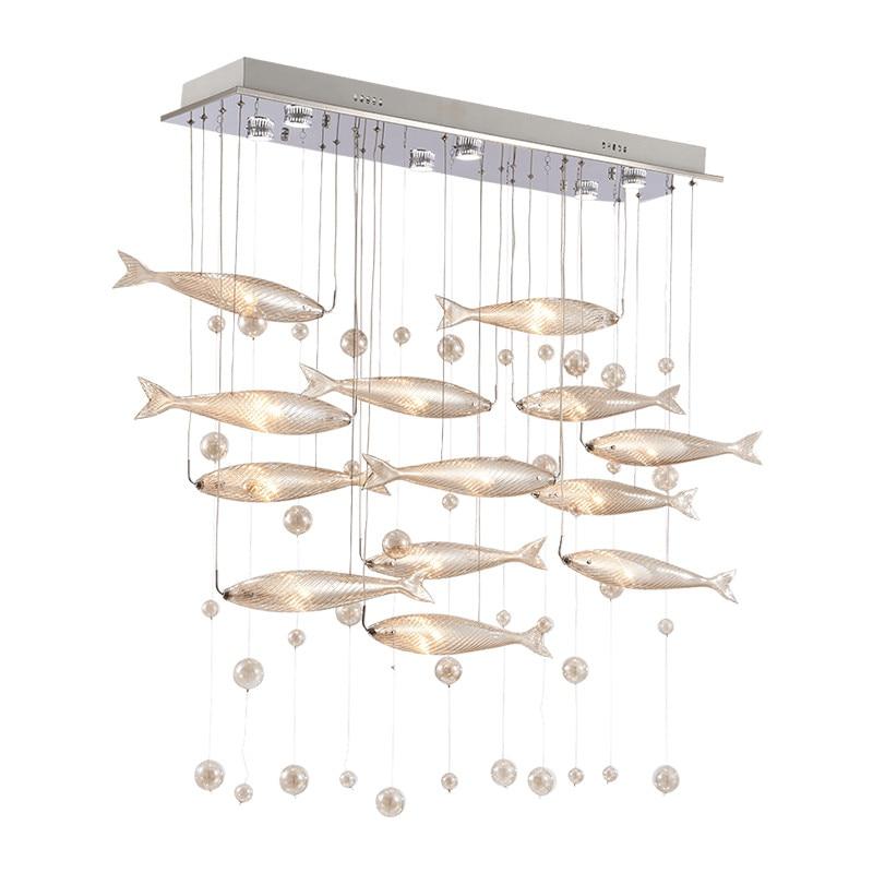 HAIXIANG LED candelabro de cristal exclusivo lámpara de techo de restaurante nueva lámpara volando decoración de pescado iluminación