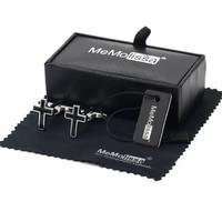 memolissa display box religion iron cross cufflinks mens button with black enamel plated jewelry free tag wipe cloth