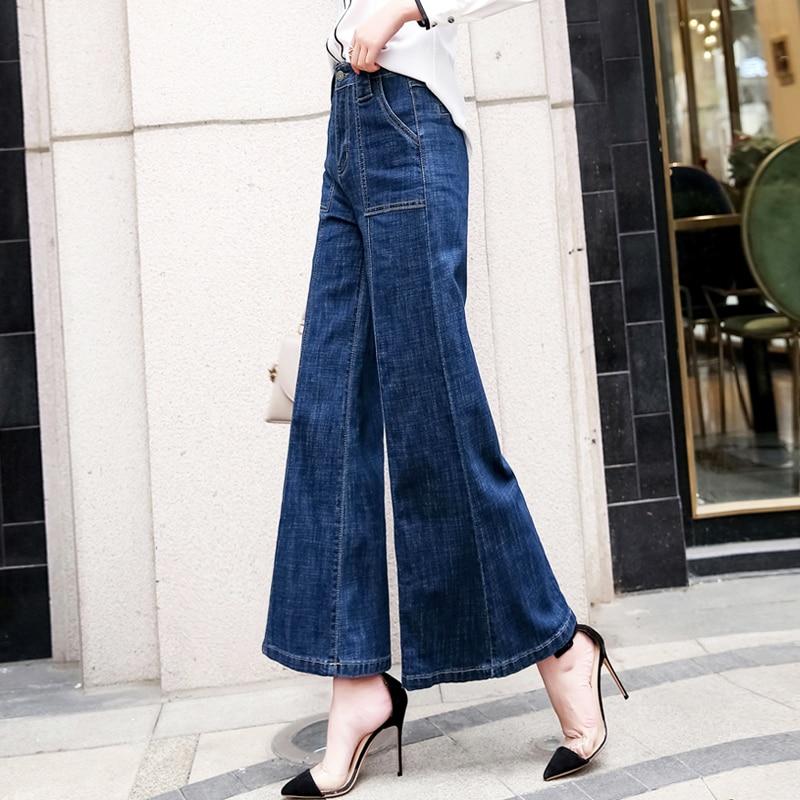 Pottis Real shot moda coreana pantalones de pierna ancha 2019 nueva primavera alta cintura jeans slim pantalones de pierna ancha pantalones de altavoz de gran tamaño