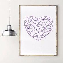 Abstrakte Polygonal Herz Kunstdruck Wand Bilder, Geometrische Liebe Symbol Leinwand Malerei Poster Wohnzimmer Dekoration