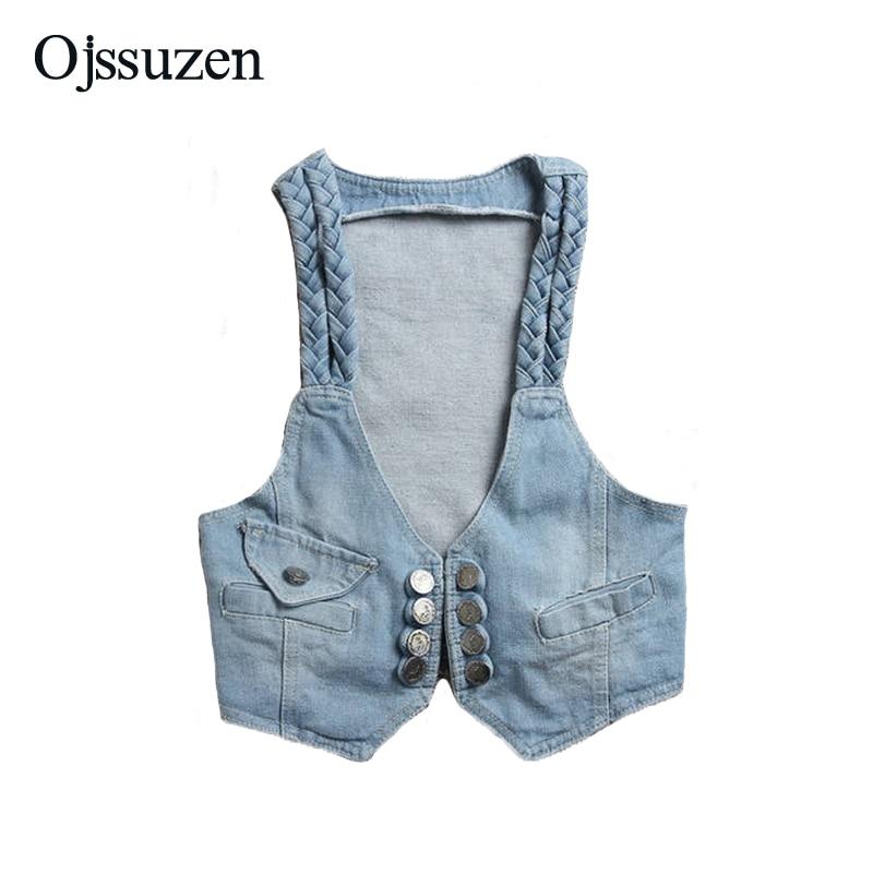Estilo coreano Chaleco Corto chaqueta sin mangas para mujer Chaleco de Denim Vintage Jeans chaleco apertura por botón puntada de Denim Chaleco de verano