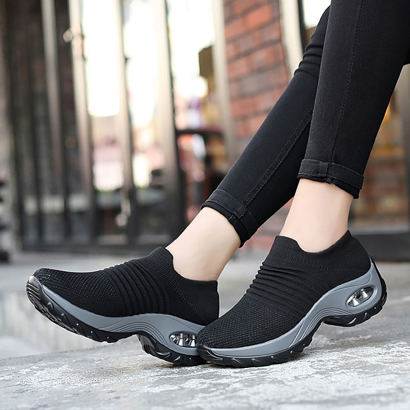 Women sneakers 2021 new breathable mesh sneakers women shoes convenient slip-on air cushion casual shoes woman tenis feminino lin king comfortable women casual shoes fashion breathable running walking swing shoes slip on ladies sneakers tenis feminino