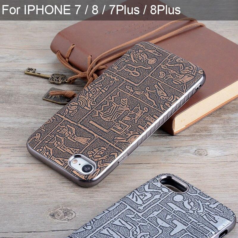 Funda para iphone 7 8 plus funda Maya antiguo Egipto Retro Piel de cuero con cubierta de silicona suave fundas de teléfono para iphone 7 8