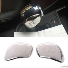 2 piezas de perilla de cambio, pegatina de ajuste de cubierta lateral plateada para Golf MK7 Tiguan Passat, accesorios interiores para coche con estilo