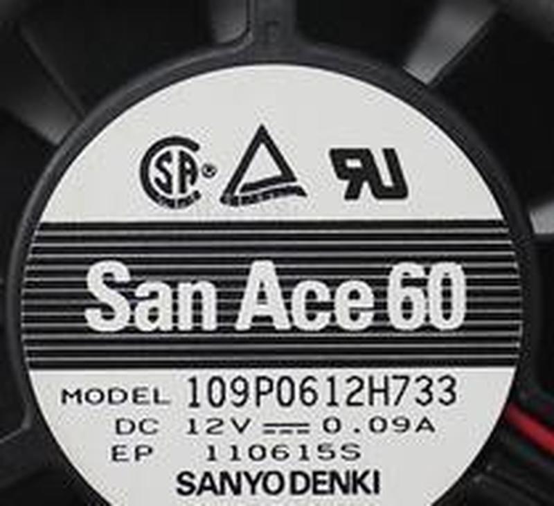 Original para Sanyo 109P0612H733 DC12V 0.09A 6CM 60x60x15MM 2 líneas ventilador de enfriamiento de ordenador