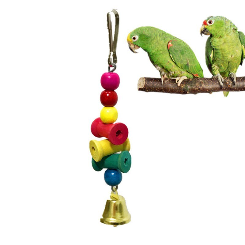 Mascota doméstica juguetes de aves colgando de madera loro morder masticar juguetes colgante decorativo juguetes con cascabel para Nido de Pájaro suministros de aves