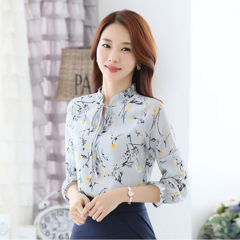 New Floral Shirts Hot Sales Fashion Women Blouses Slim Three Qurter Lantern Sleeve Bow Tied Casual Camisa S-3XL bow tied front slim fitted tee