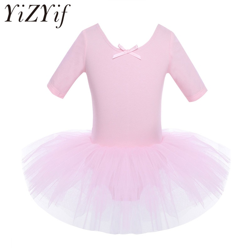 YiZYiF Ballet dress Kids Half Sleeves Cotton Dance Ballet Tutu Dress Leotard Girl Gymnastics Dancewe