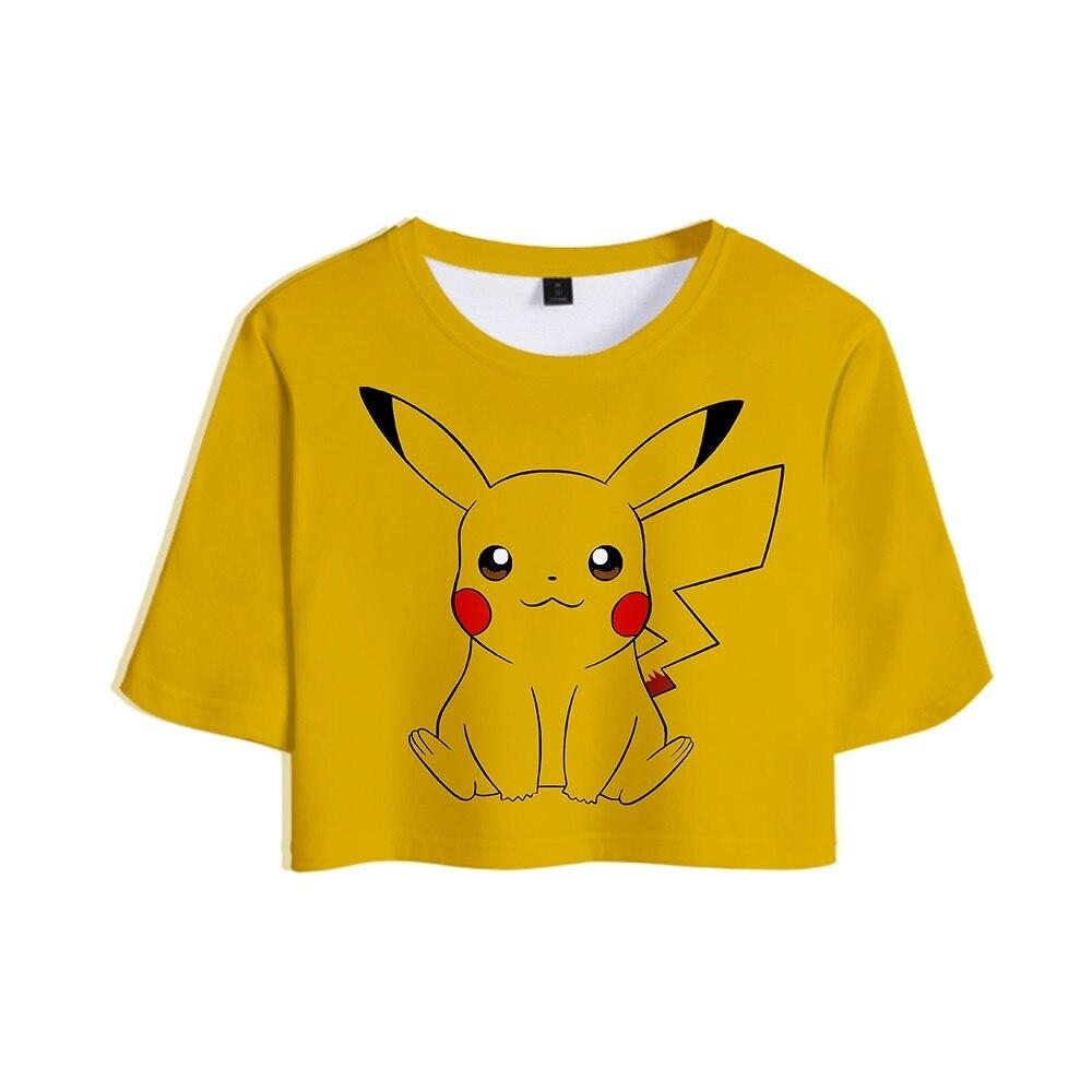 2019 Novo Estilo 3D Pokemon Anime Pikachu Tops Cropped Camiseta Menina Sexy Exposed Umbigo Topos Kawaii Anime Pikachu T camisa