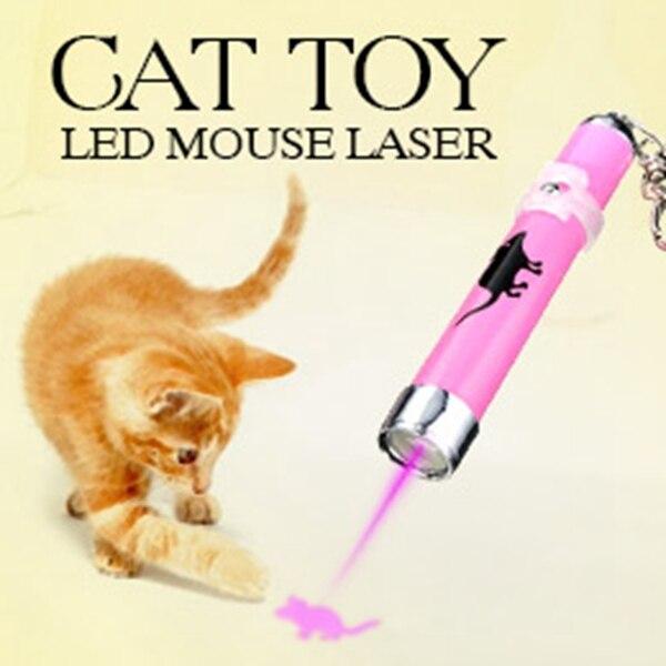 Mascotas láser portátil juguetes creativo y divertido gato Juguetes LED de luz láser Pen puntero con brillante animación ratón sombra al azar