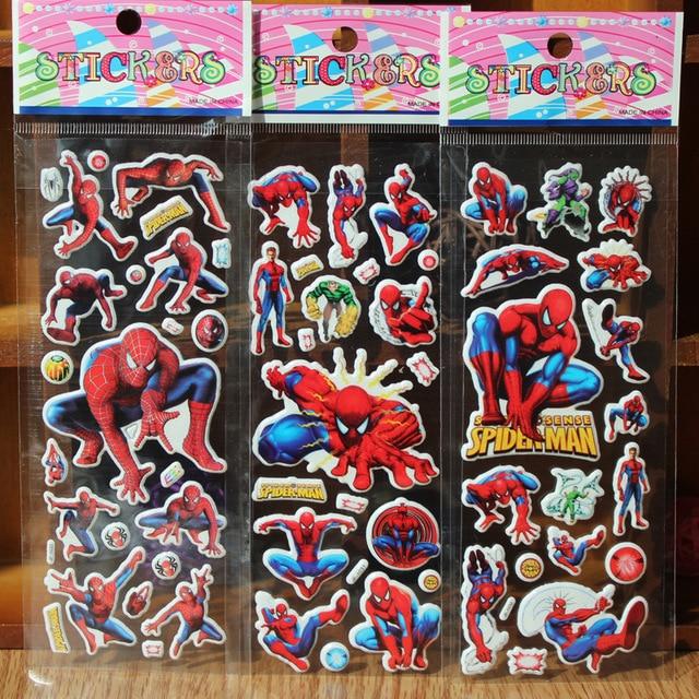 ^ 5pcs/lot Cartoon hero Spiderman Puffy foam Bubble sticker School Rewards 3D Wall Stickers Kids Gift Toys Christmas Scrapbook
