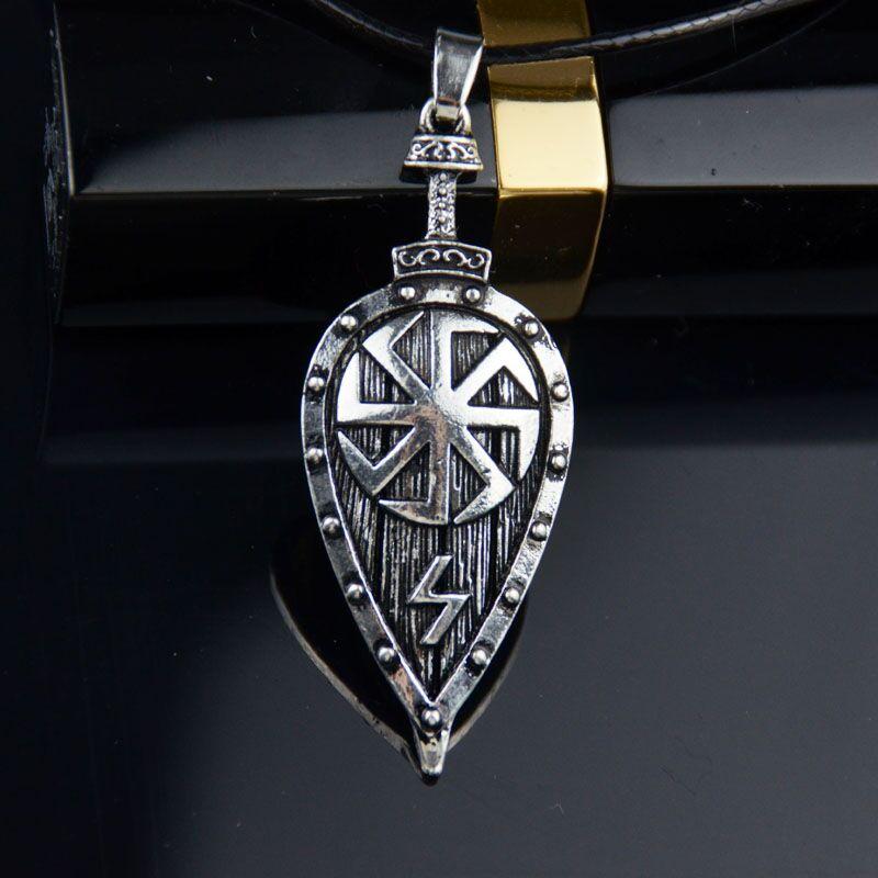 Colgante de escudo vikingo 1 unidad, collar, rayo Raytheon, colgante estilo eslavo, joyería simbólica para mujeres y hombres