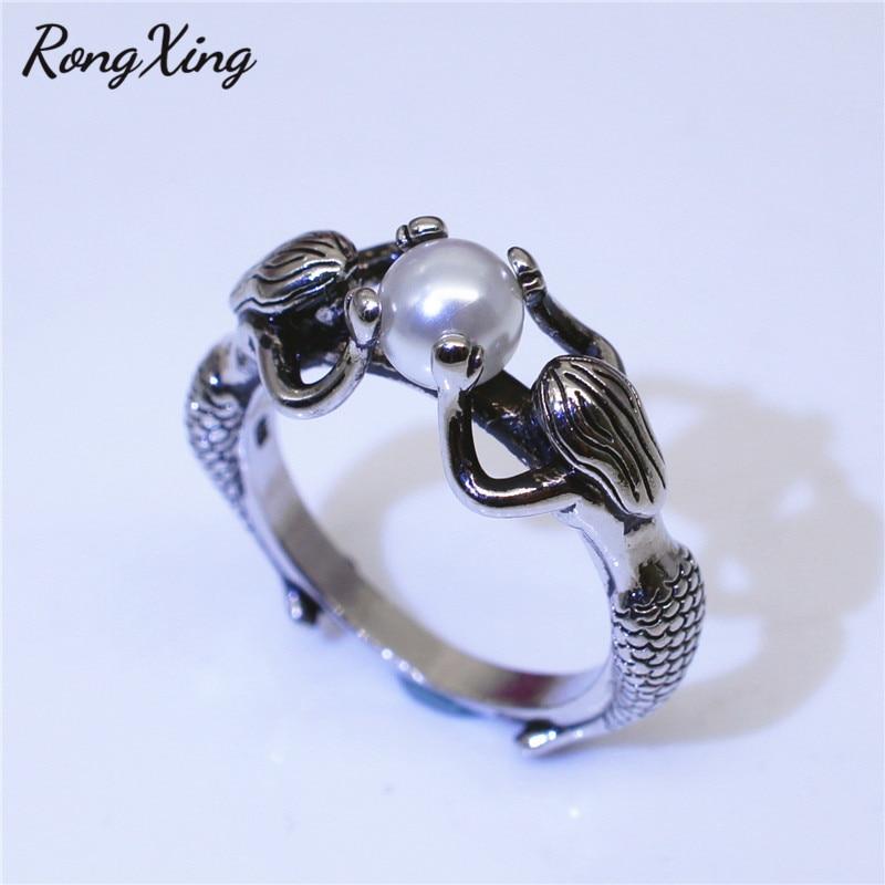 Anillo para mujer RongXing Vintage plata Color blanco perla sirena anillos para mujer joyería Boho antigua moda personalidad anillo de piedra natal