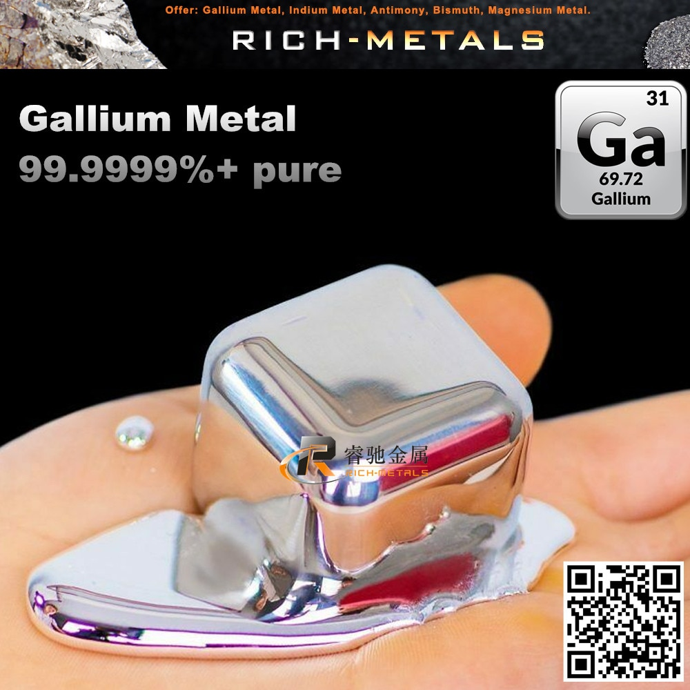 Galio Metal 250 gramos 99.9999% puro (6N) por Changsha rico metales no ferrosos Co. Ltd.