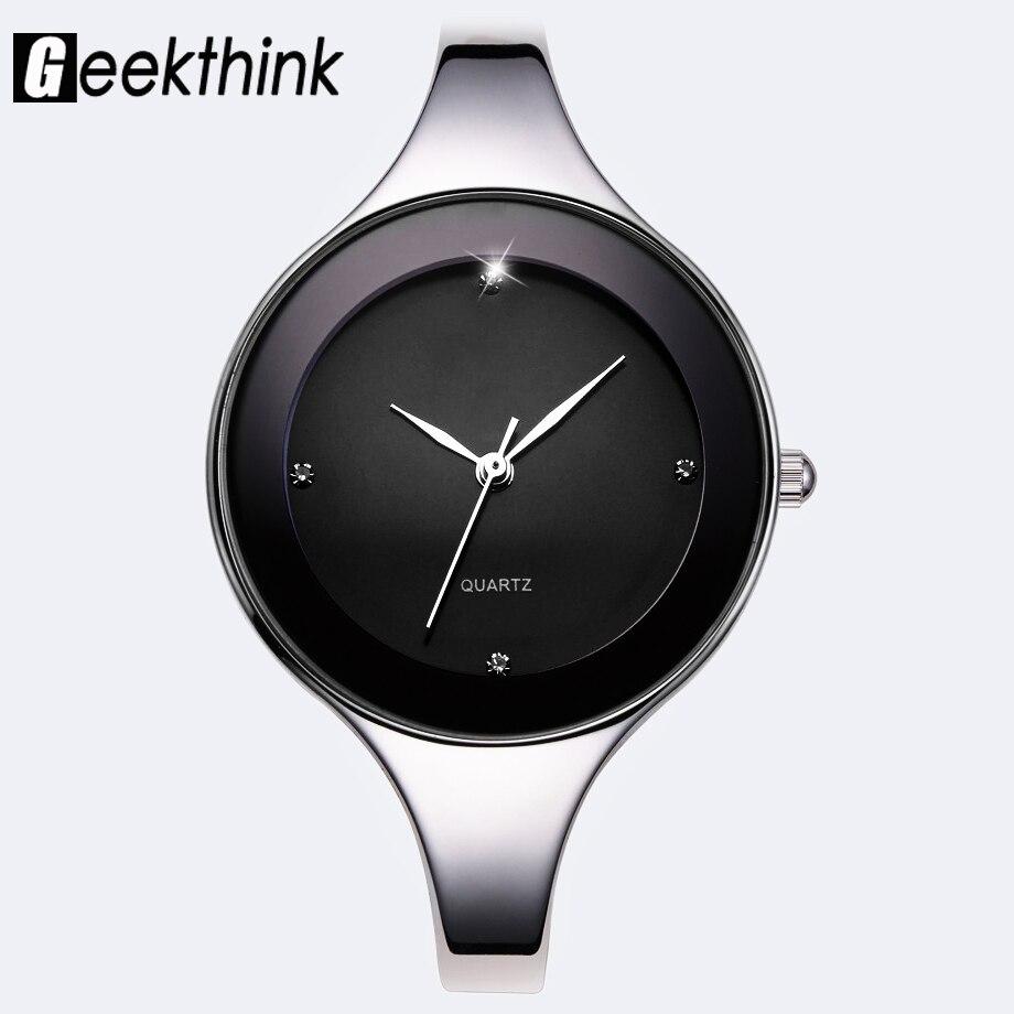 Reloj de cuarzo de marca de lujo 2018, reloj de pulsera de acero inoxidable para mujer, reloj informal para chica, reloj femenino