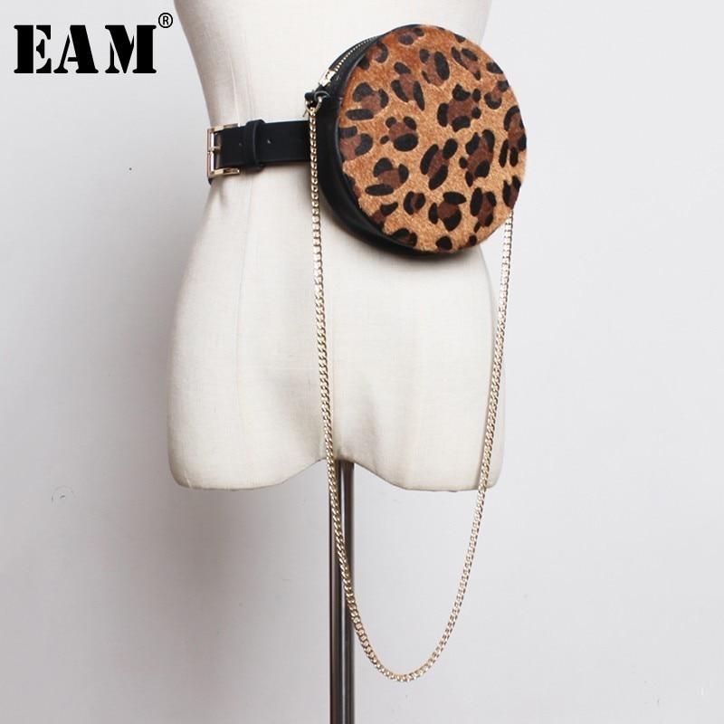 [EAM] ¡novedad de Primavera Verano 2020! Minibolsa redonda con personalidad, Correa larga de Chian con estampado de leopardo dividido, moda femenina JL328