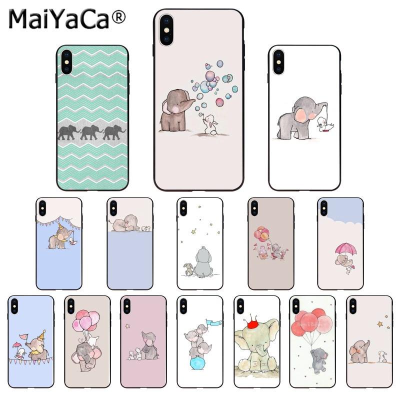 MaiYaCa, funda de teléfono con dibujo de bonito elefante y conejo para iphone SE 2020 11 pro 8 7 66S Plus 55S SE XR X XS MAX