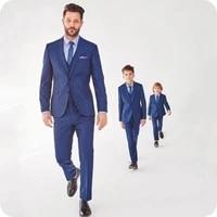 royal blue mens elegent suits for wedding slim fit groom tuxedo boy wedding suit retro child blazer 3piece costume homme ternos