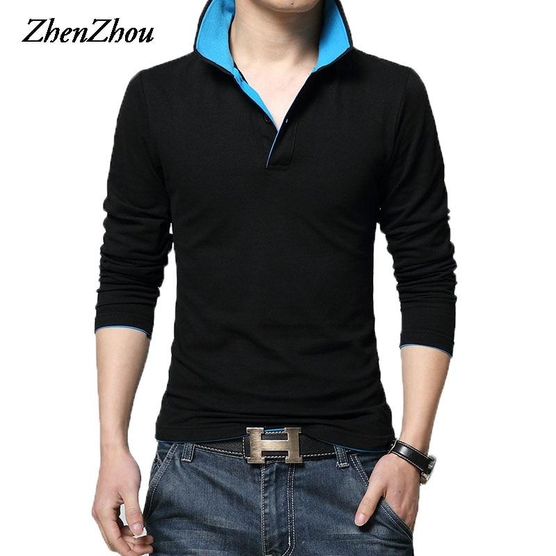 Camiseta Polo De manga larga De algodón sólido De 8 colores para primavera y otoño De 2019 para hombre, Polo De lujo para hombre Slim Fit M-XXXL