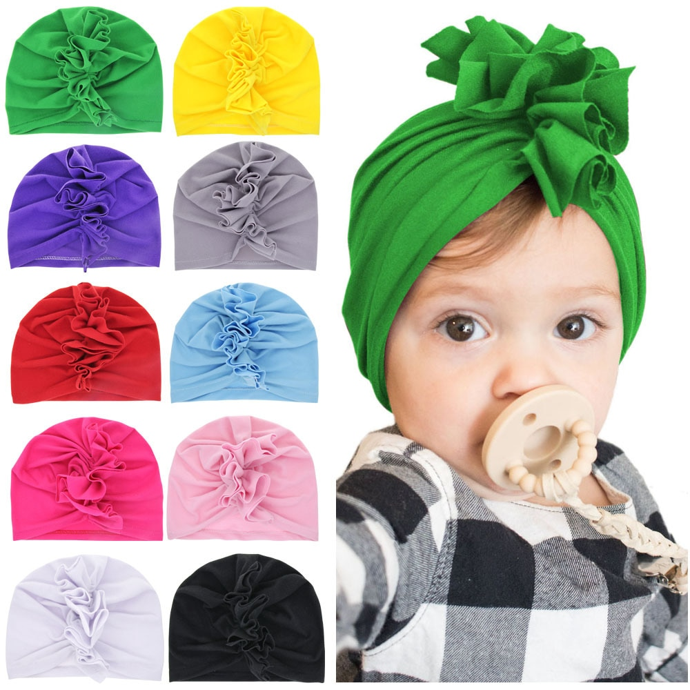 Gorro de bebé turbante Yundfly, corona de pollo, gorros para niños de mezcla de algodón, Boina para niños, accesorios para fotos, regalo de ducha para recién nacidos