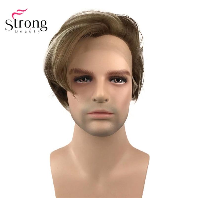 سترونجبيوتي-شعر مستعار أمامي من الدانتيل الصناعي للرجال ، شعر بني مع انعكاسات ، ألياف مقاومة للحرارة ، شعر أسود