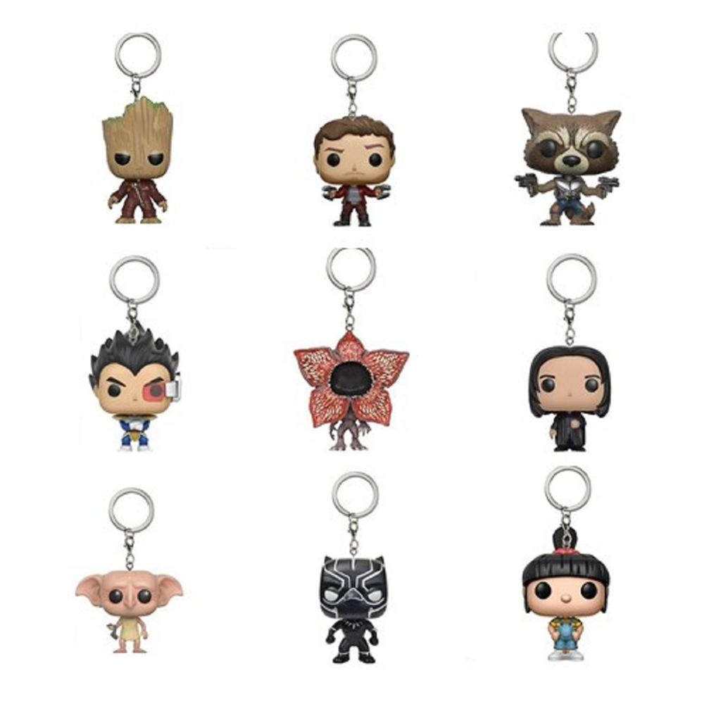 Marvel avengers snape tree man vegeta Keychain Star Lord Rocket Bobble Head Key Ring Toys Stranger Things captain figure Toy