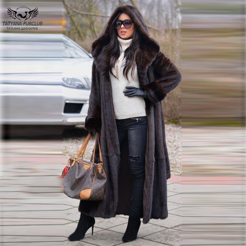 Tatyana-معطف فرو المنك الحقيقي X-Long للنساء ، 120 سنتيمتر ، معاطف رفيعة من فرو المنك مع حزام ، جلد أصلي ، معاطف شتوية عصرية