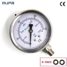 QUPB 63 мм PCP Пейнтбол 400bar манометры высокого давления заполненный жидкостью манометр для дайвинга чехол из нержавеющей стали 1/8NPT GEL001