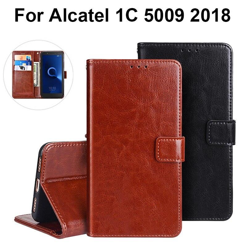 Caso de cartera de cuero PU para Alcatel 1C caso suave de silicona TPU carcasa funda para Alcatel 1C 5009A 5009D caso bolsas de teléfono móvil