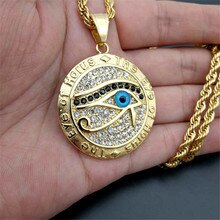 Collier égyptien homme & femme oeil dhorus pendentif & chaîne couleur or acier inoxydable colliers ronds egypte ancienne bijoux