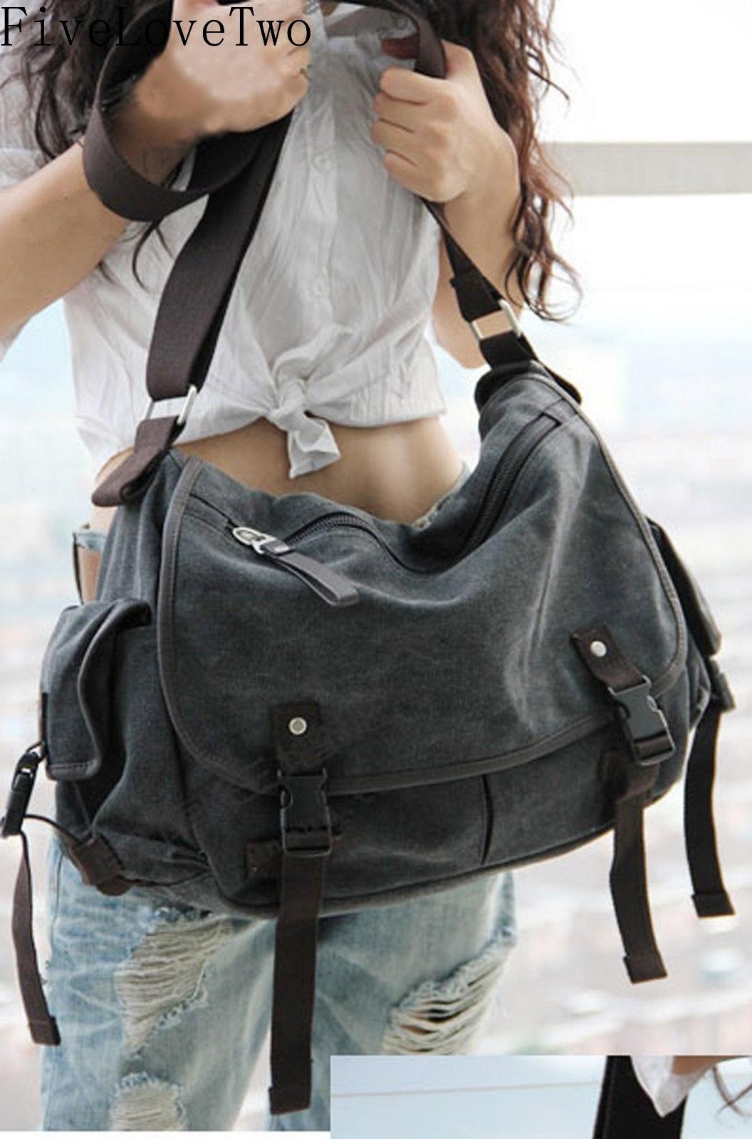 Fivelovetwo grande bolsa de lona do vintage mensageiro totebag livro portátil ombro escola ladys bolsa masculina saco