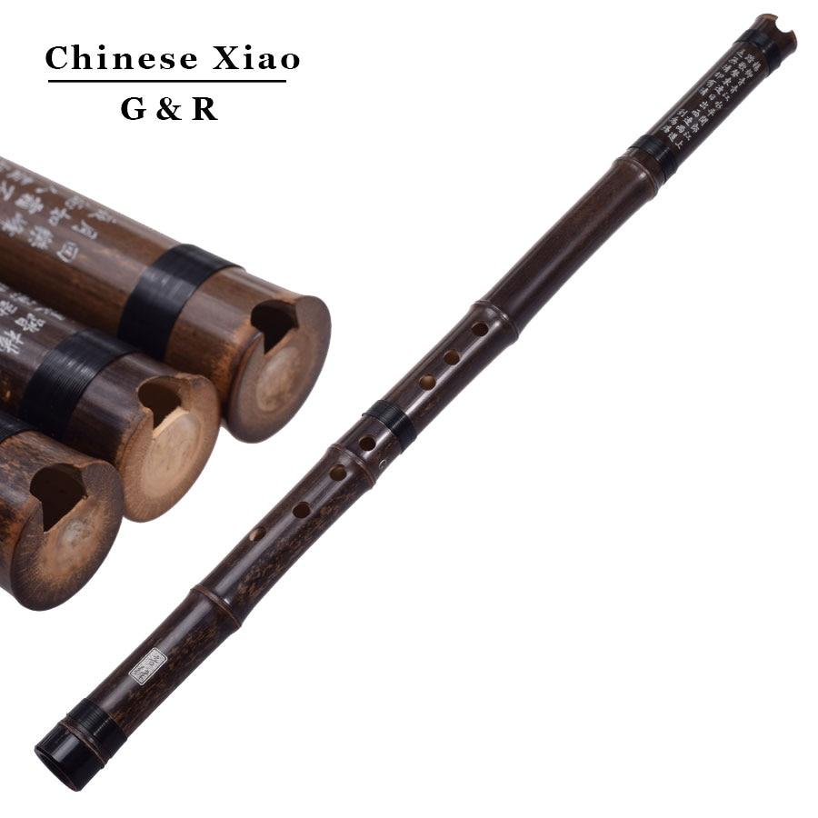 Flauta de bambú Vertical china Xiao instrumento de música cromática G/F llave dong xiao tubo hecho a mano Flauta 8 agujeros con nudo chino