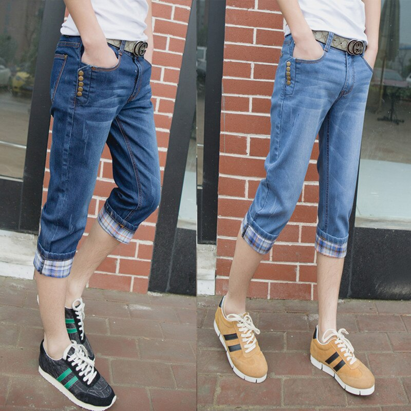 Moda 2020 verano Casual Thin jeans hombres adolescentes pies Capri Cuffs Hip Hop pantalones elásticos siete Slacks Biker Denim monos hombres