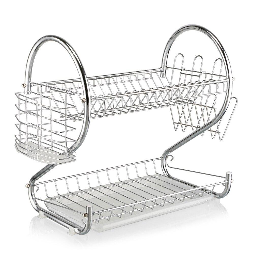 2 capas de cromo de cocina taza de secado escurridor bandeja de secadora soporte de cubiertos organizador