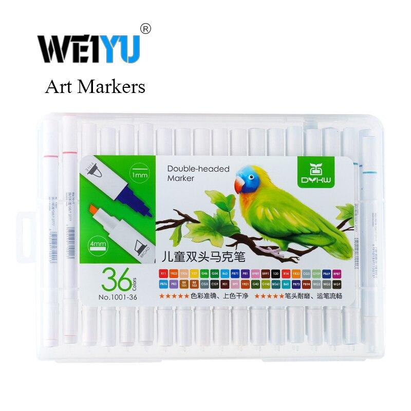 weiyu 12/18/24/36/48 Colors Art Markers Alcohol Based Markers Drawing Pen Set Manga Dual Headed Art Sketch Marker Design Pens