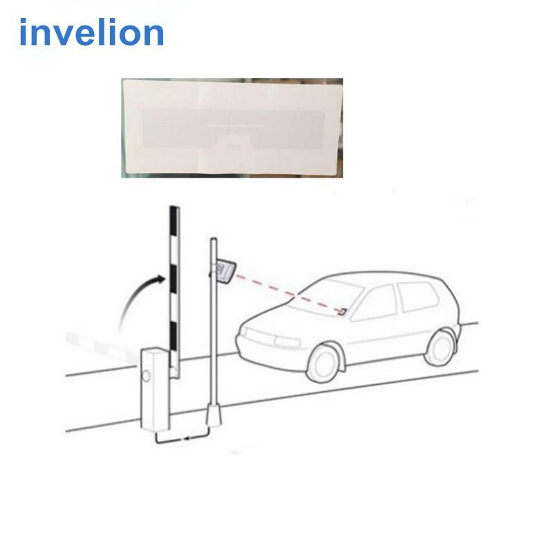 Uhf rfid السيارة علامة ISO18000-6C EPC GEN2 قراءة/كتابة ورقة rfid الزجاج الأمامي ملصقا التسمية uhf 1-10 مترا المسافة السلبي