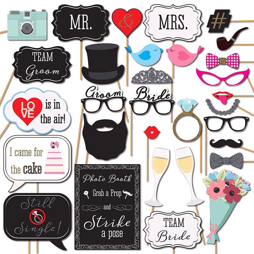 Gran oferta 31 unids/set de máscaras, accesorios para fotomatón, bigote con palo, herramienta DIY para fiesta de bodas, suministros para fiestas de Halloween 2019