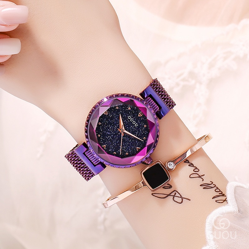 ساعات كوارتز من الذهب الوردي للنساء ، ساعة يد من الفولاذ المقاوم للصدأ ، ماركة فاخرة ، كريستال ، عصرية