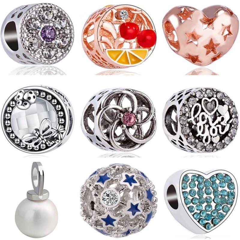 Btuamb lujo europeo cereza estrella libélula Ladybug perlas simuladas Charms Beads Fit Pandora pulseras para mujer DIY joyería