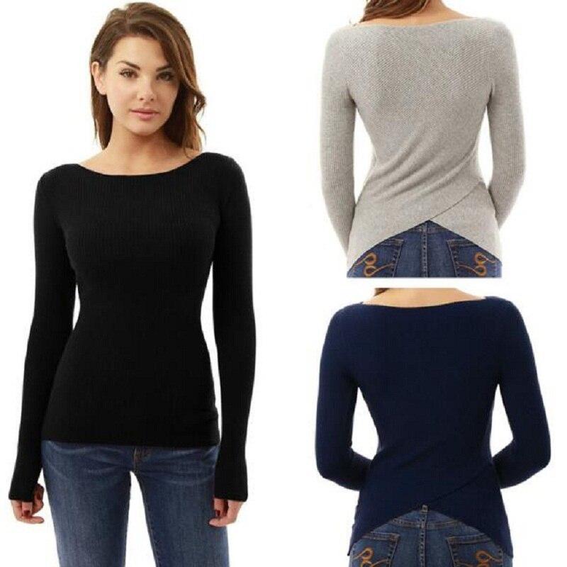 Invierno Casual Sexy mujeres camisetas de manga larga Camisa ajustada gris negro azul pulóver Irregular mujeres ropa apertura en la espalda Tops femeninos