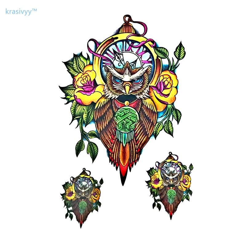 Nuevo colorido búho grande manga de tatuajes para brazo flash temporal tatuaje Calcomanía para arte corporal 21x15cm impermeable tatuaje de Henna hacer las mujeres