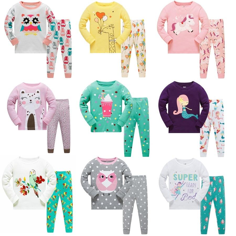 Floral Children Pajamas Sets Girls Clothing 2pc Suit Sleepwear Night Robe nightdress kids household clothes Cotton PJS