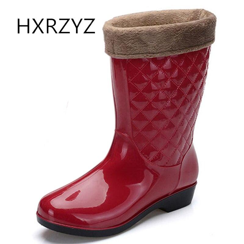 Hxrzyz женская обувь весна/осень плюс хлопок теплые непромокаемые сапоги женские