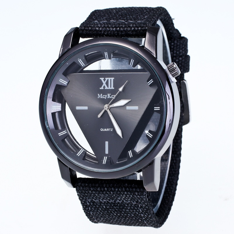Hesiod triángulo hueco reloj de lona Casual mujer reloj negro/blanco/Verde/rosa/azul reloj deportivo