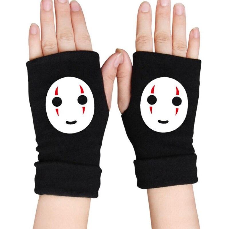 Guantes sin dedos de Spirited Away para hombre, guantes de muñeca tejidos de algodón de Anime, mitones, accesorios de dibujos animados, calentador de manos para Cosplay